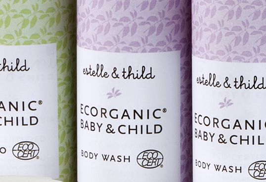 upclose of Estelle and Thild - organic baby care products in Sweden, love pastels and pattern