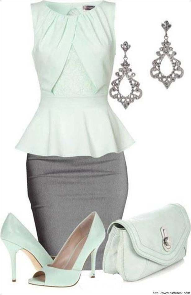 Party wear witha Pencil skirt and matching earrings.. Check more