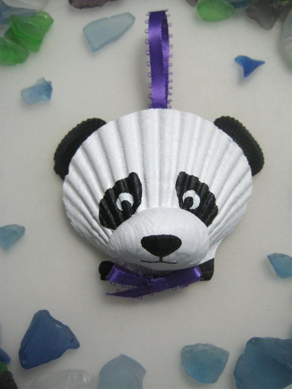 Panda Bear Ornament. Hand painted seashell panda by Lorishellart