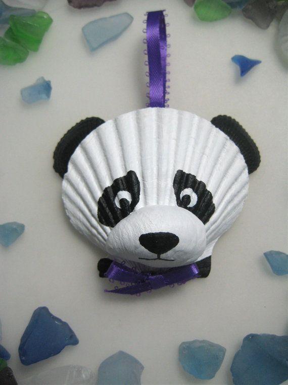 Panda Bear Ornament Hand painted seashell panda by Lorishellart, $21.00