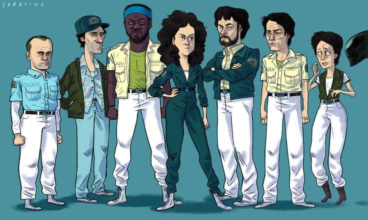 ALIEN 1979 DIBUJO DELOS ACTORES
