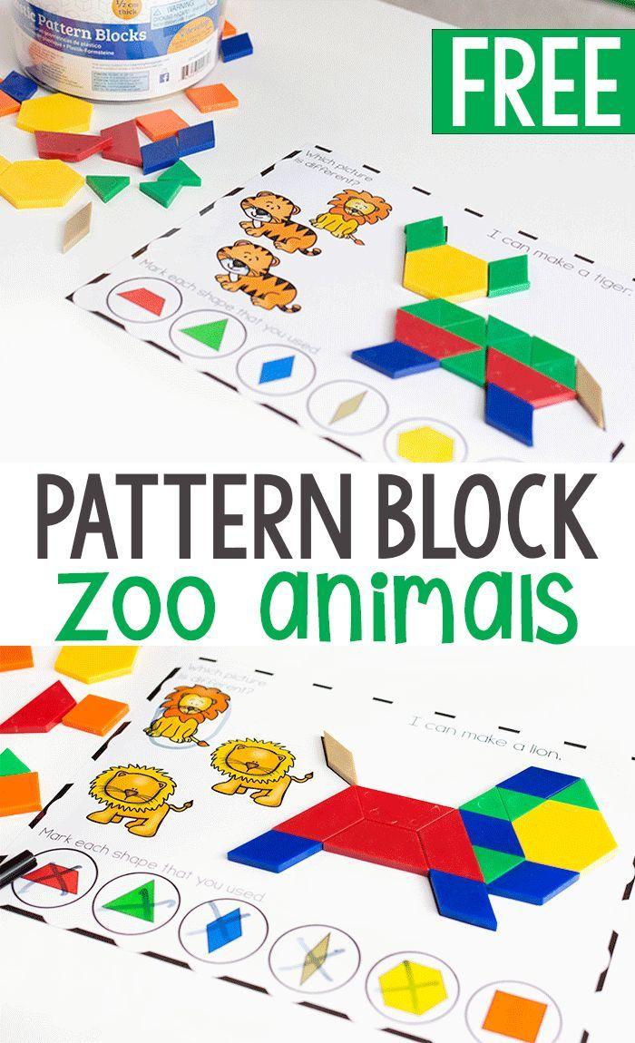 Kids Love These Pattern Block Mats Pattern Blocks Activities Preschool Activities Zoo Preschool [ 1150 x 700 Pixel ]