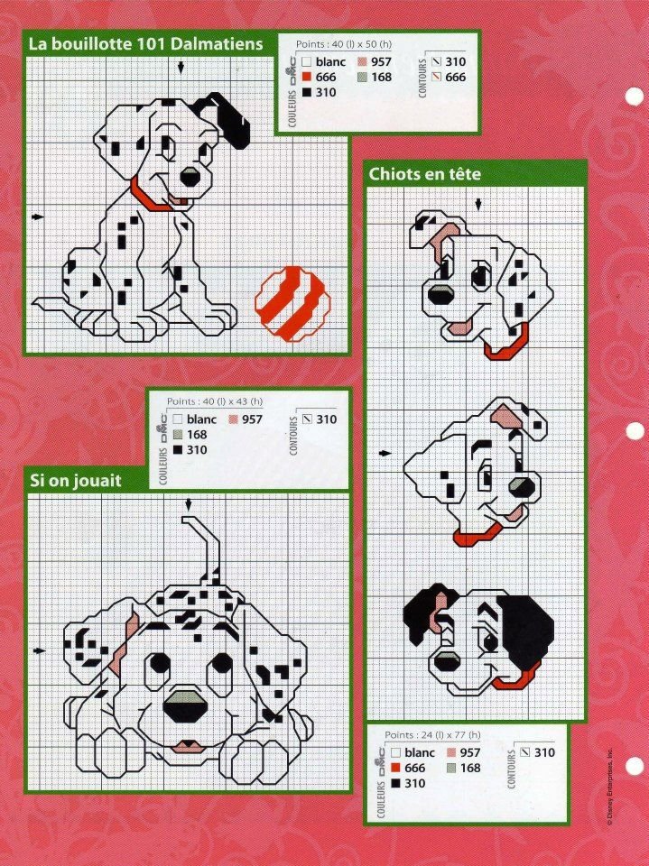 101 Dalmatians Cross Stitch Chart Needlepoint