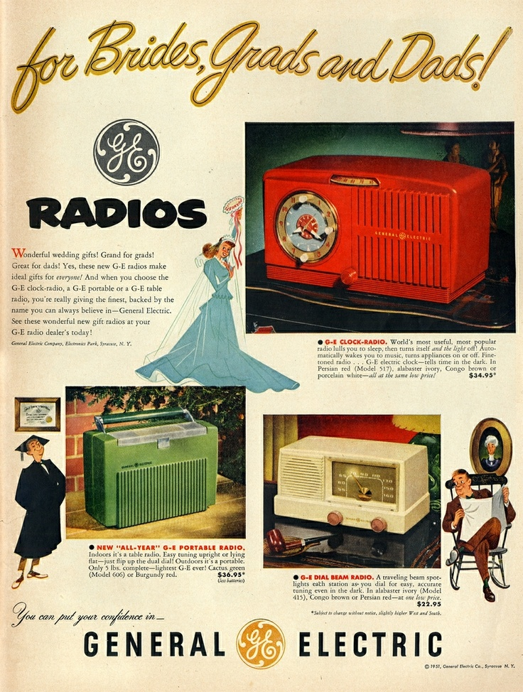 General Electric Radios ad from 1951  = vibrant illustrations and lettered headlines,
