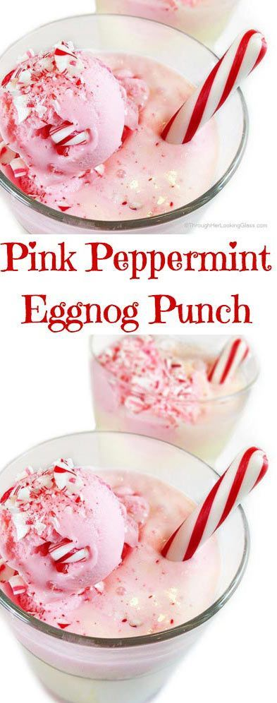 Pink Peppermint Eggnog Punch. Pretty to look at. Tasty to drink. Easy to make. Festive for the wintery holidays!!!!