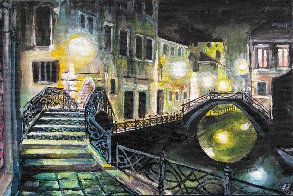 Night Venice Original Acrylic Painting City by PaintingByAHeart