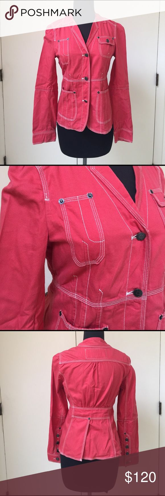 Marc Jacobs Red Denim Jacket Adorable red Denim jacket with split panel back. Fits like a 4/6. Make an offer! Marc Jacobs Jackets & Coats