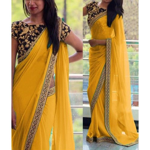 Shop Online Georgette Border Work Yellow Plain Saree - 808C @ Rs.1499 at Indiarush. Best Discount ✓ Cash on Delivery ✓ Free Shipping✦ ✓15 Days Return ✓ All India Shipping.