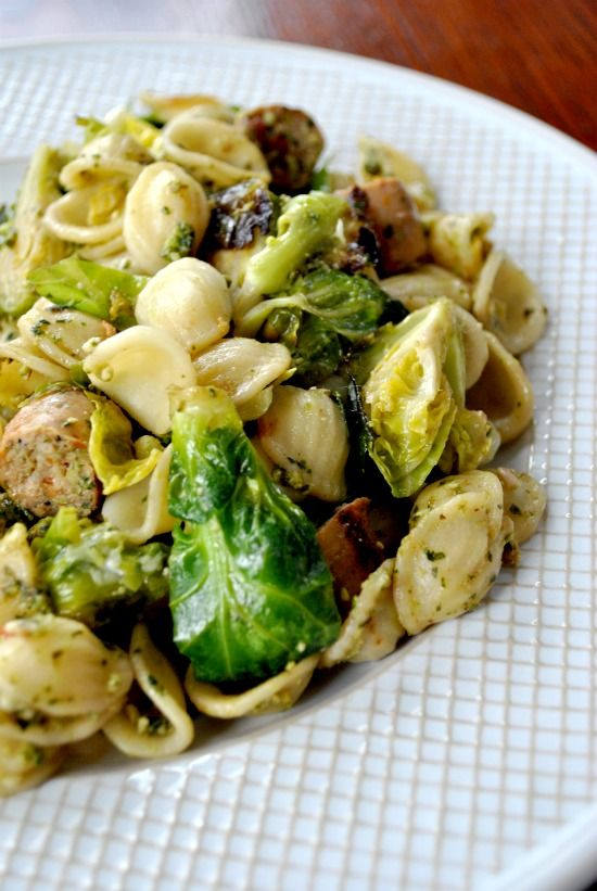 Pesto Pasta with Chicken Sausage & Brussel Sprouts