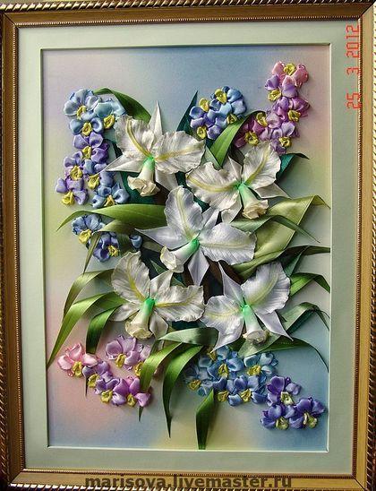 """Персональные подарки ручной работы. Ярмарка Мастеров - ручная работа Картина лентами """"В саду у принцессы Орхидеи"""". Handmade."""
