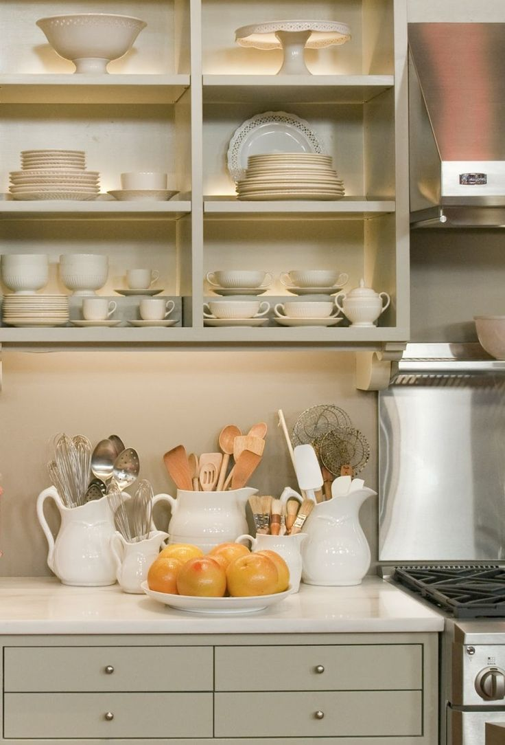 martha stewart living kitchen knobs. martha stewart mourning dove gray cabinets, open shelves, brushed nickel knobs and hardware, white stone countertops stainless steel appliances. living kitchen