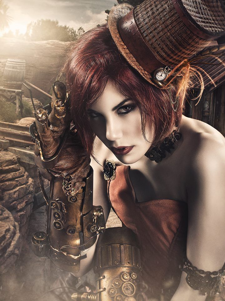 steampunktendencies:  Model : Mery Sp - Make Up : Elen Sanchez - Design : Legend Factory Corset & Hat : Tocado y Hundido Collar - Jewelry : Rslove Armas  Steampunk Arm : Nithael Arcangel - Photography : Rebeca Saray