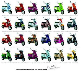 Vespa in Many Colour
