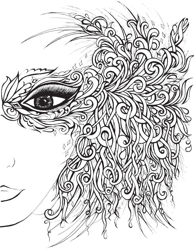 creative haven fanciful faces coloring book welcome to dover publications or use this design duplicated as a pattern for a quilled mask - Adult Color Pages
