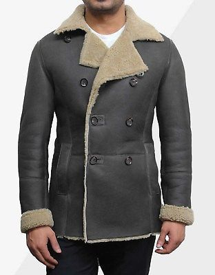Mens-Real-Sheepskin-Jacket-Double-Breasted-Leather-Jackets-Men-039-s-Leather-peacoat