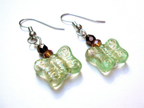 Beaded butterfly earrings  fall jewelry  by sparklecityjewelryGreen Earrings, Earrings Fall, Butterflies Earrings, Earrings Green, Butrfli Earrings, Jewelry Earrings