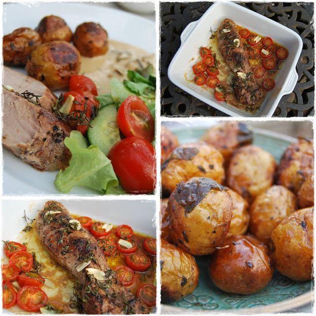 Recept som innehåller grädde, vitlöksklyfta, kött, sås, potatis, smör, örter, fond, vatten, kalvfond, peppar, timjan, olivolja, salt, maizena
