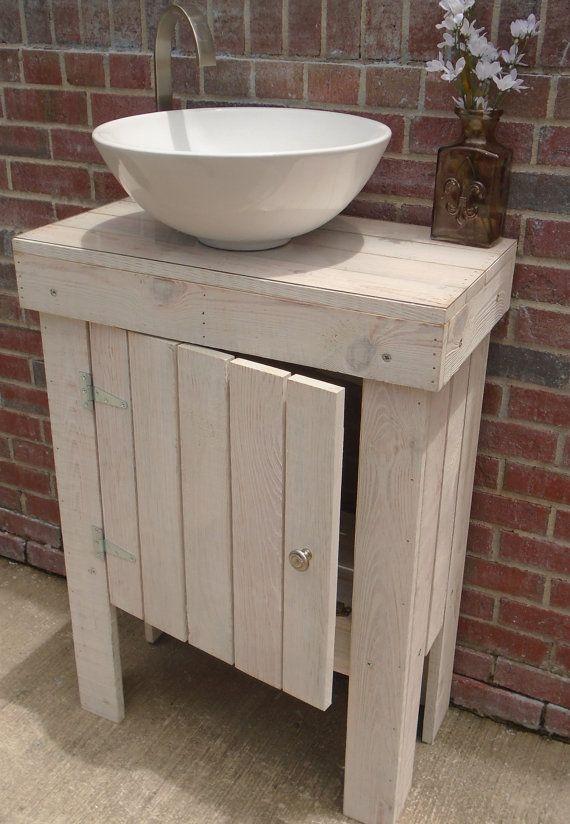Small Wood Vanity Cabinet w/ door Storage Shelf by WoodArtWorld
