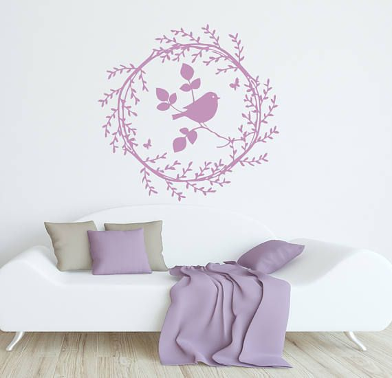 rustic nursery wall decal bird decal butterfly vinyl decal baby wall decal rustic wall decal kids