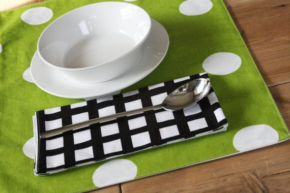 SPRING  Green Placemats  with White Dots  Set of 4 by izyandoly, $40.80