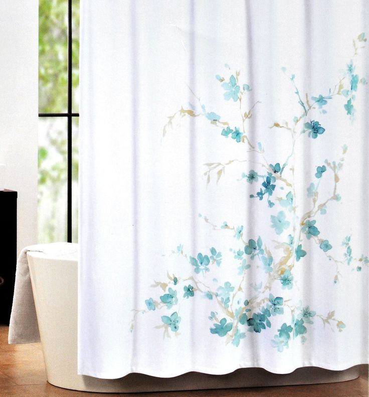 Tahari Luxury Cotton Blend Shower Curtain Printemps Aqua Turquoise Floral  Branches. 17 Best images about Bathroom on Pinterest   LUSH  Purple orchids