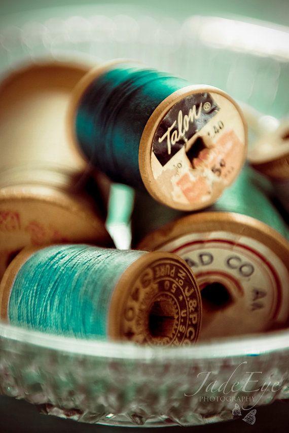 vintage spools of thread