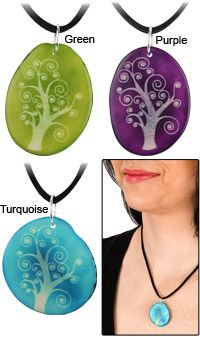 Tree of Life Etched Tagua Necklace for $10.99! Each purchase funds 25 cups of fo