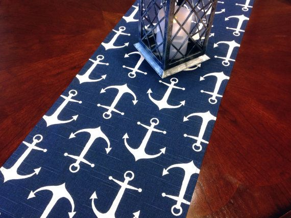 Table Runner - Nautical Small Anchor Table Runners - Navy and White Nautical Table Runners For Weddings or Home Decor - Select A Size