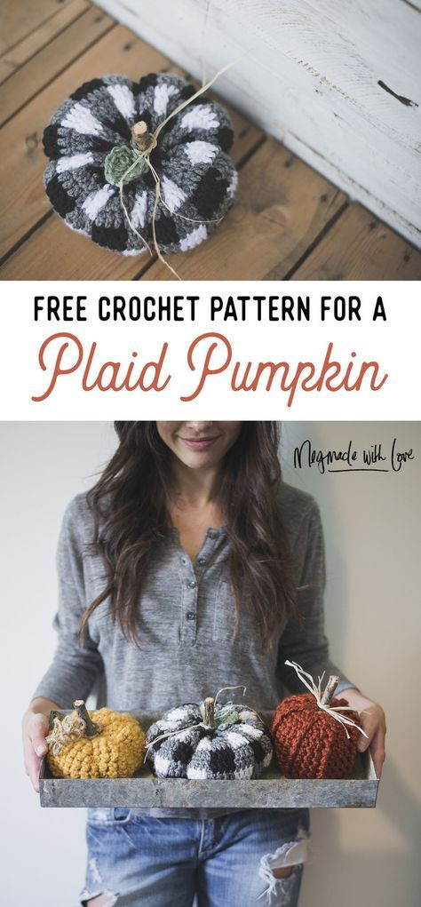 FREE Crochet Pattern for a Cute Little Plaid Pumpkin