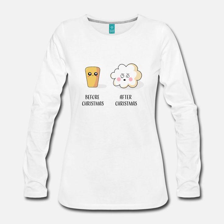 Popcorn Mais Weihnachten Spruch Lustig Geschenk Frauen Premium Langarmshirt – Weiß