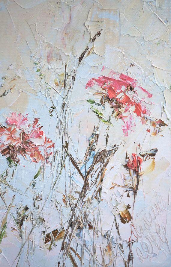Pinturas al óleo originales Сoral Beige rojo ladrillo gris flor cuchillo personalizado flores abstractas con textura lienzo pintura impresionista sala arte de la pared