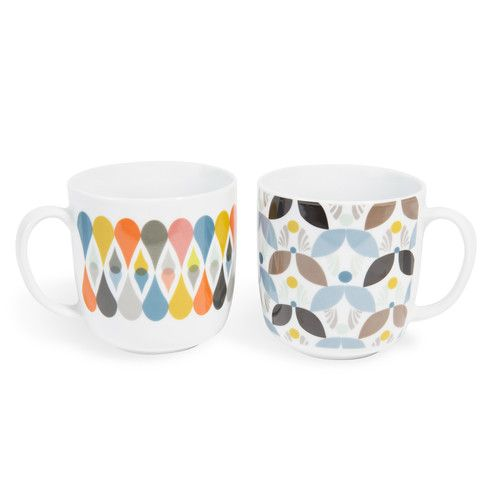 4 mugs en porcelaine multicolores SEVENTIES  | Maisons du Monde