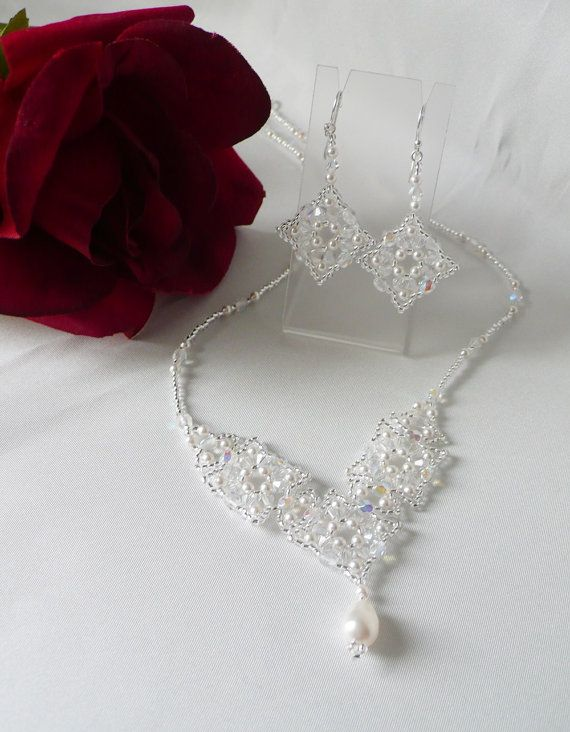 Woven  Necklace Set Pearl and Swarovski Crystal от IndulgedGirl