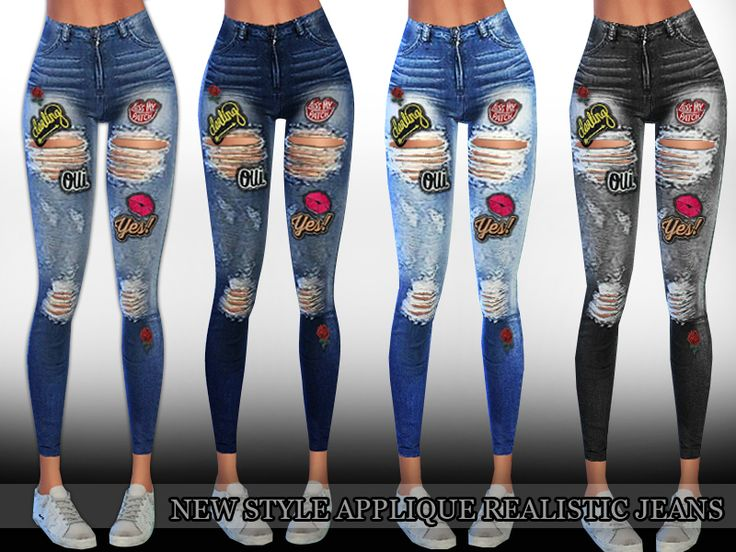 New Style Applique Realistic Ripped Jeans with 4 colours total design by Saliwa.  Found in TSR Category 'Sims 4 Female Everyday'