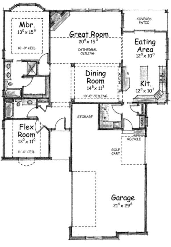 European Style House Plan – 2 Beds 2 Baths 1597 Sq…
