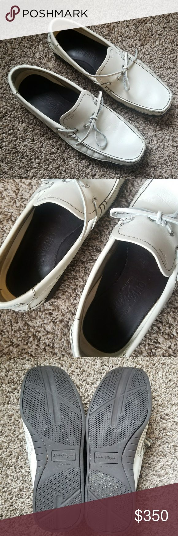 Salvatore Ferragamo Mens Off White Loafers/Shoes Salvatore Ferragamo Mens White Loafers/Shoes. More like Ann off white in color. Worn only once to an event. Size 10 Men's shoe. This is perfect for golfing, sailing, beach, working, on a date.  Perfect mens casual yet preppy and sexy. Excellent condition. Salvatore Ferragamo Shoes Loafers & Slip-Ons