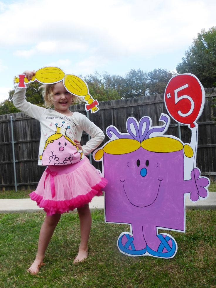 Photo props and Little Miss birthday were cut from foam board and painted with acrylic paint. The figures where pushed into the ground with yard sale spikes!