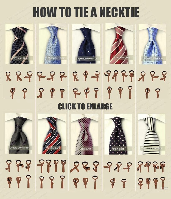 Great visual to compare different neck tie knots.