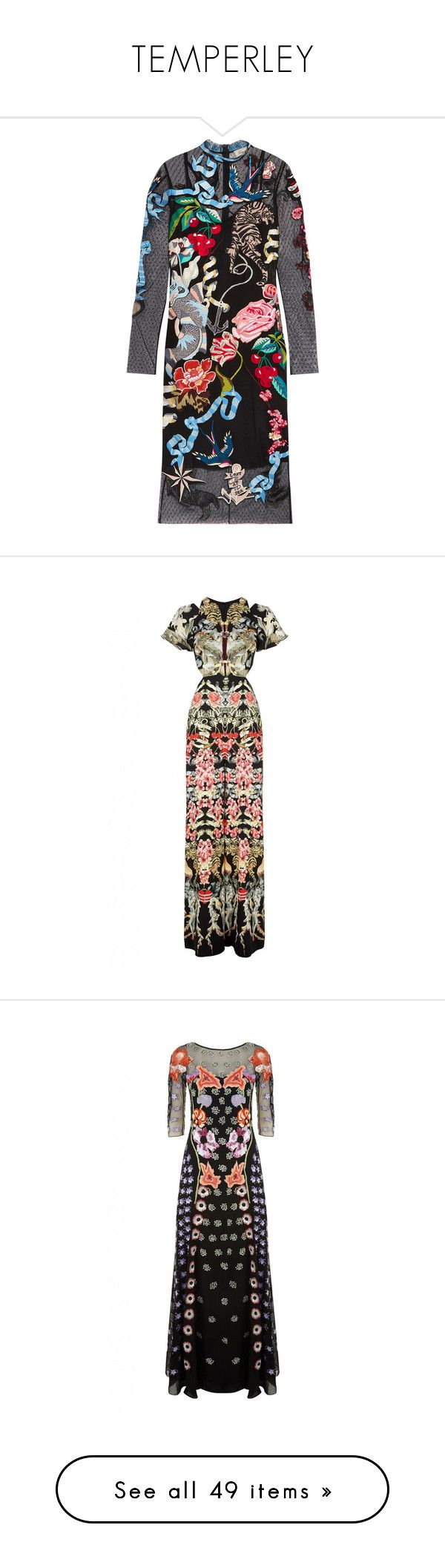 """TEMPERLEY"" by mari-sv ❤ liked on Polyvore featuring dresses, black, embellished cocktail dress, stitching dresses, embroidered tulle dress, embroidered cocktail dress, embellished dress, jumpsuits, black mix and wide leg jumpsuit"