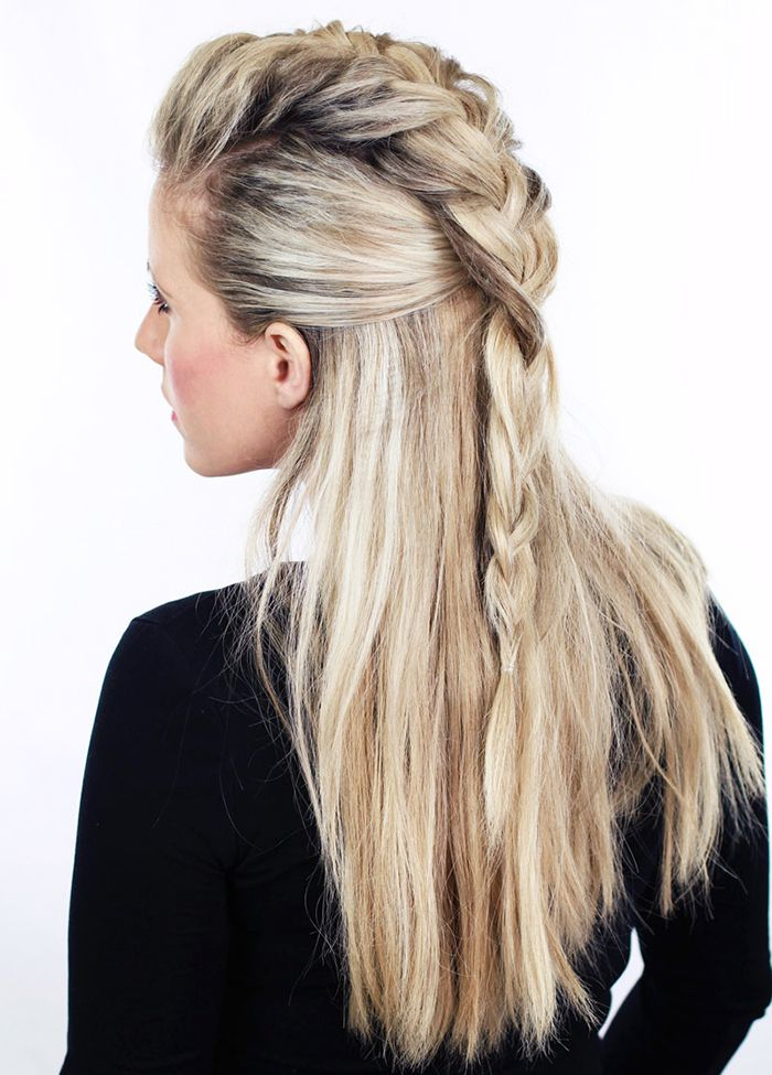 Half braid. A badass look I'd like to try someday if I managed to have half the talent this person has at braiding hair...