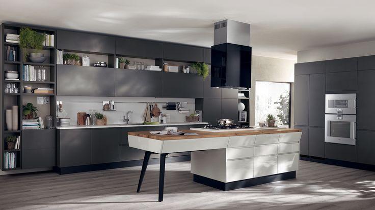 Attractive Kitchen Design Ideas By Scavolini Kitchens: Interesting Scavolini Kitchens With Black Kitchen Cabinet And Gas Cooktop Also Kitchen Island For Modern Kitchen Ideas