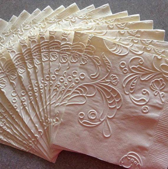Wedding Napkin - Embossed Paper Napkin - Wedding - Bridal Shower - Engagement Party - Anniversary - Birthday - Elegant Swirl - Beverage