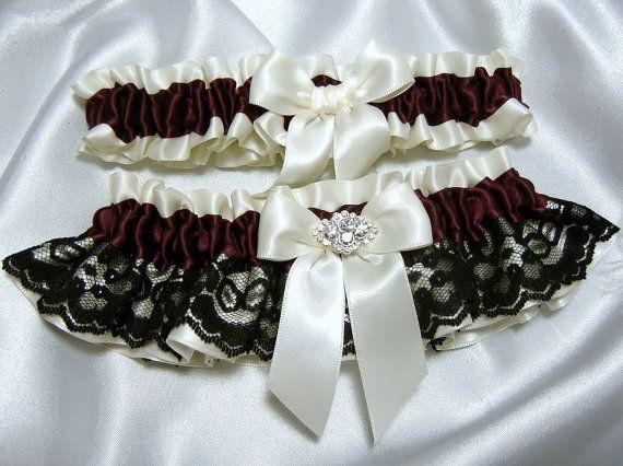 Maroon Burgundy And Black Lace Wedding Garter Set
