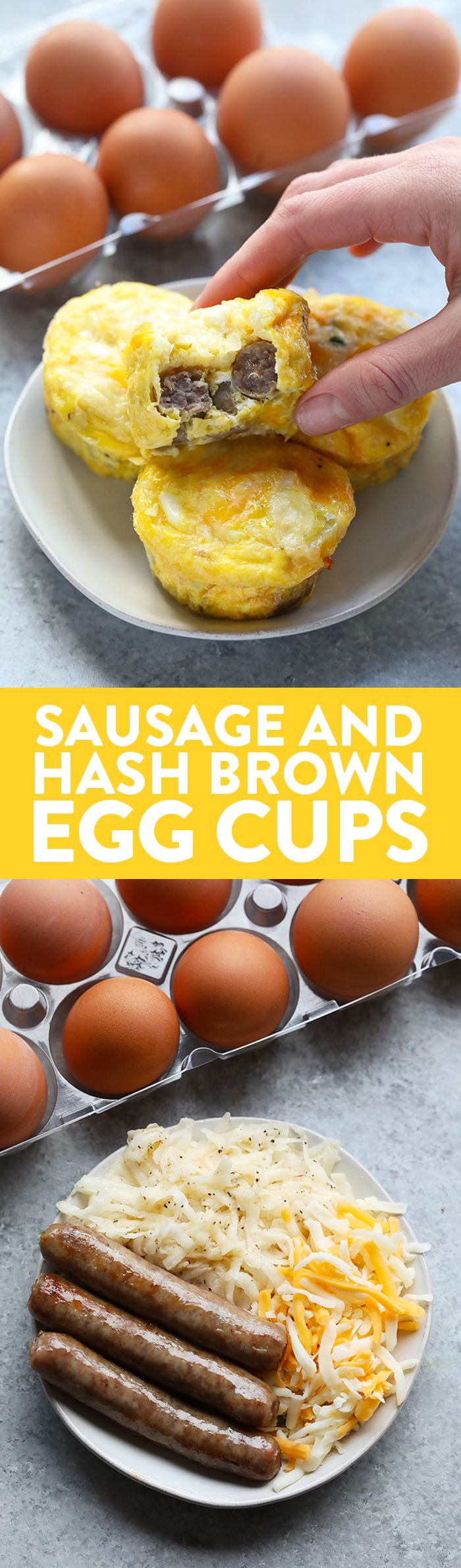 These All American Egg Cups are perfect for picky eaters. They're made with homemade hash browns, breakfast sausage, and cheese! Pro tip: try subbing out the hash browns for shredded sweet potato!