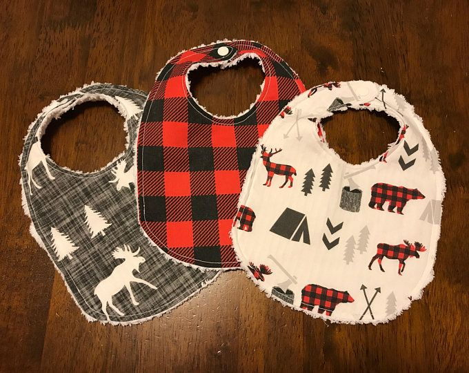 Woodland bibs / deer moose and bears / red and black plaid / woodland nursery / canadian baby gift / woodland baby shower gift