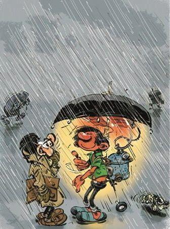 Gaston sous la pluie