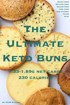 The Ultimate Keto Buns - These low carb buns are only 1.33g net carb! They are perfect for sandwiches, burgers, toast and so on!