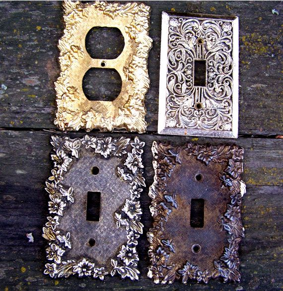 Decorative Wall Plates For Electrical Outlets : Vintage decorative brass switch plate outlet covers