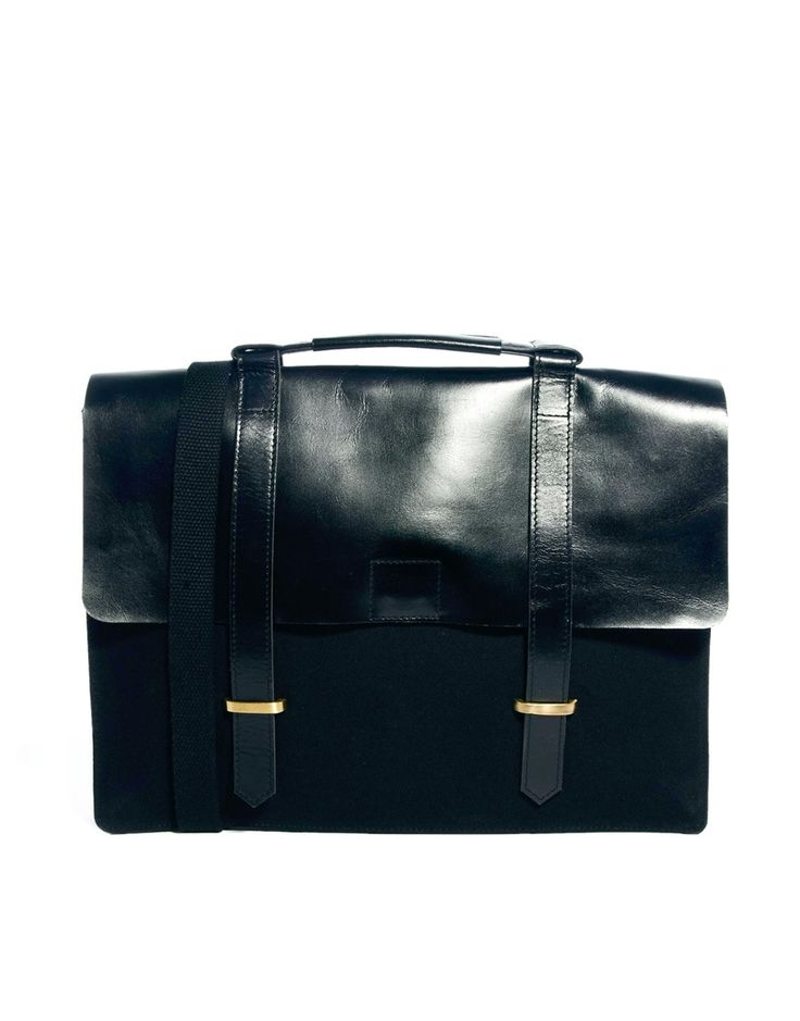 Image 1 ofASOS Canvas And Leather Satchel In Black