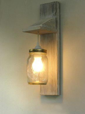 Reclaimed wood sconce, wall lamp Mason Jar lighting | Pinterest ...